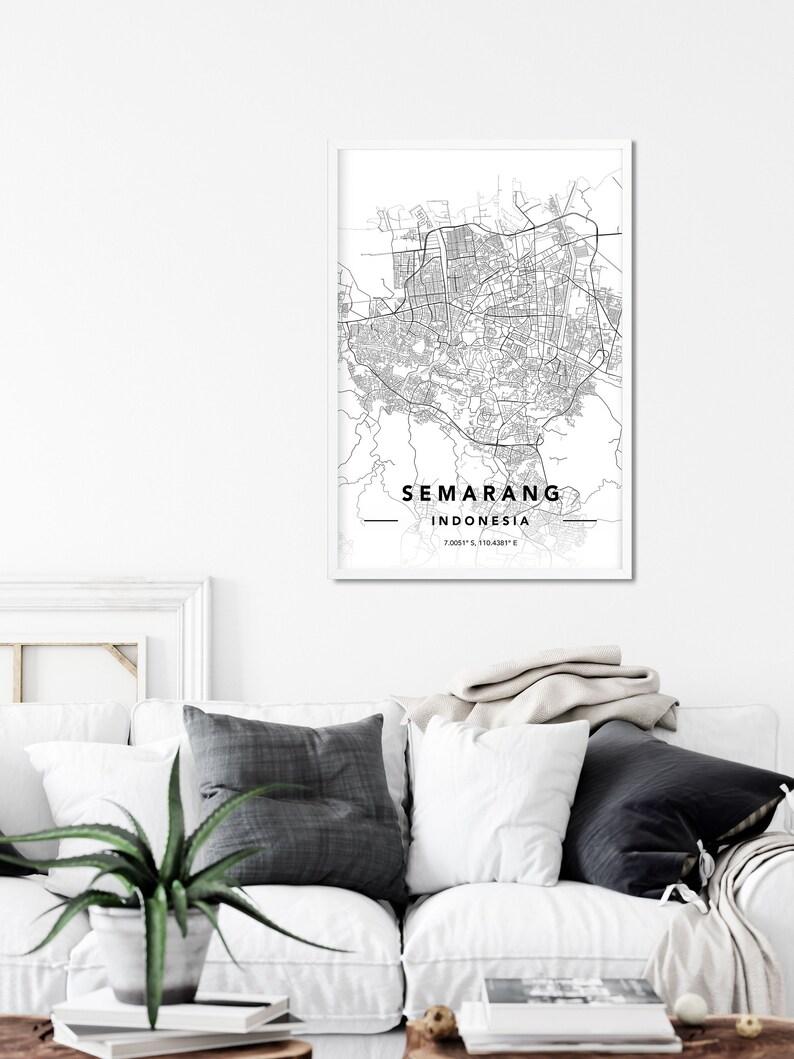 Custom City Map Print Indonesia Map Print Map Of Semarang Semarang Map Print Semarang City Map Wall Art Print Semarang Map Art