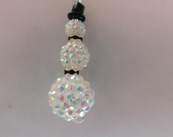 Snowman Necklace Winter Crystal Snowman Necklace Snowman Jewelry Frosty Iridescent Snowman Necklace Christmas Earrings, Holiday Jewelry