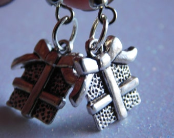 Christmas Present Earrings Christmas gift earrings Gift for you jewelry Christmas earrings simple silver christmas gift earrings