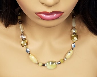 African Yellow Opal beaded Bohemian necklace 493