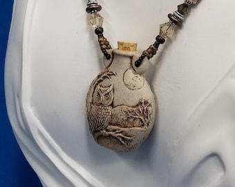 Ceramic Owl bottle beaded necklace 500