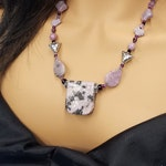 Dendritic Lepidolite bead necklace  379