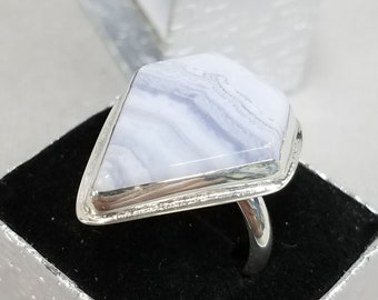 Blue Lace Agate sterling silver ring one of a kind 129