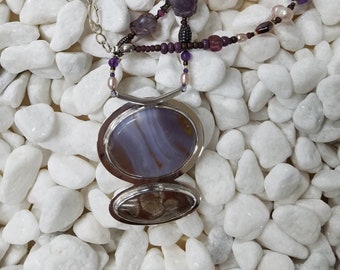 Banded Agate Fossil Coral Sterling silver beaded necklace 71