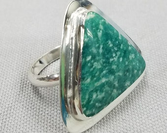 Amazonite sterling silver ring one of a kind 157