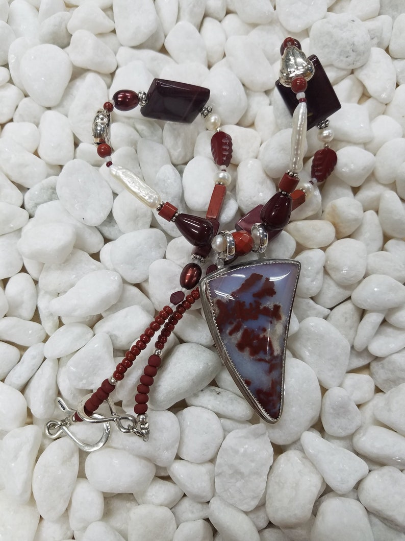 Plume Agate Sterling silver bead necklace 216 image 0