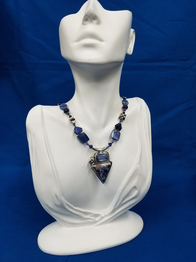 Kyanite and Sodalite sterling bead necklace 312 image 0