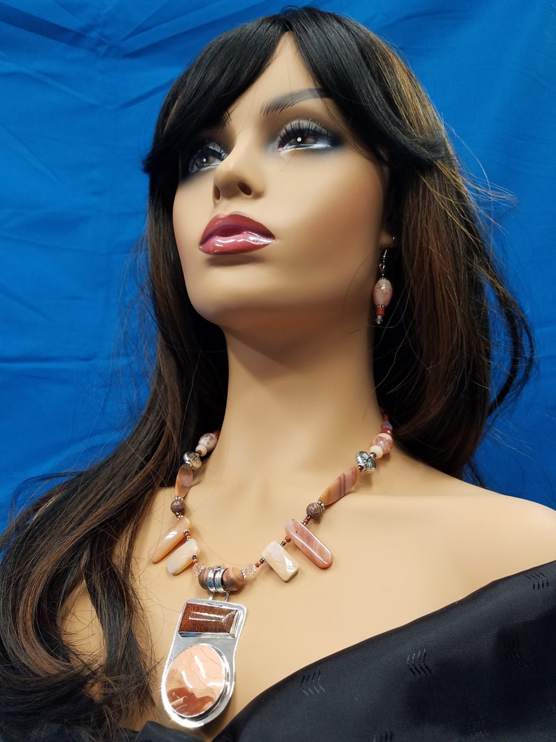 Imperial Jasper and Dino Bone bead necklace 435 image 0