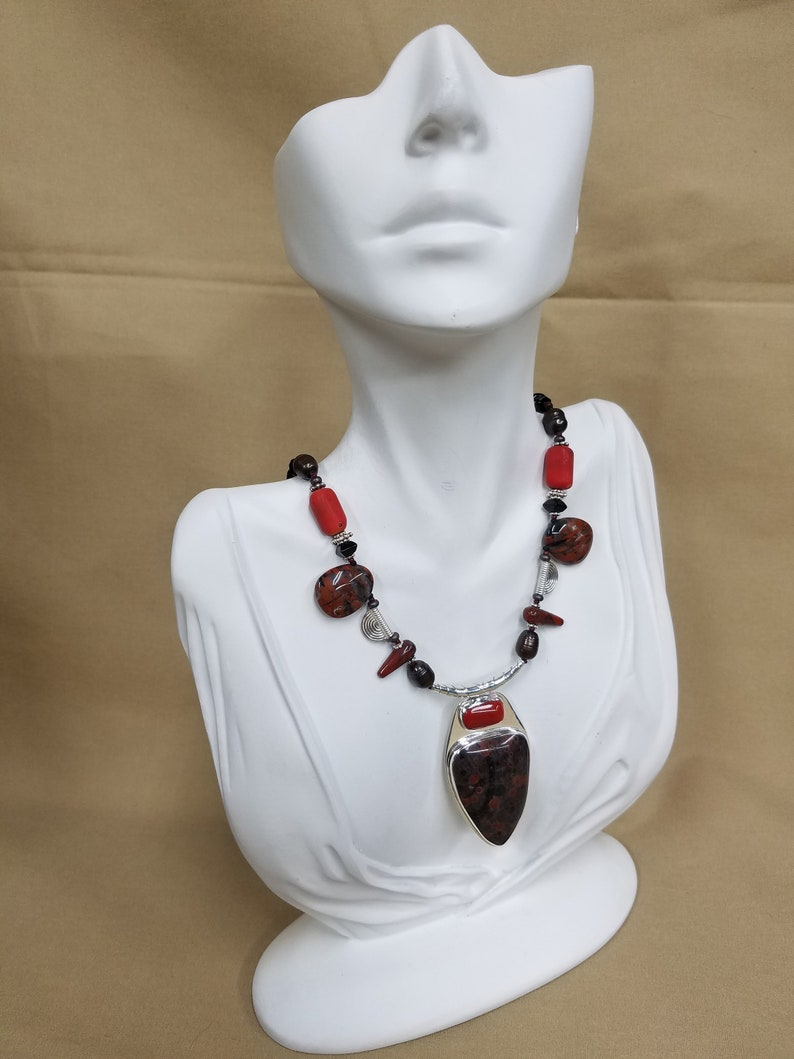 Poppy Jasper stone and Coral sterling bead necklace 248 image 0