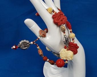 Dragon Cinnabar carved necklace 444