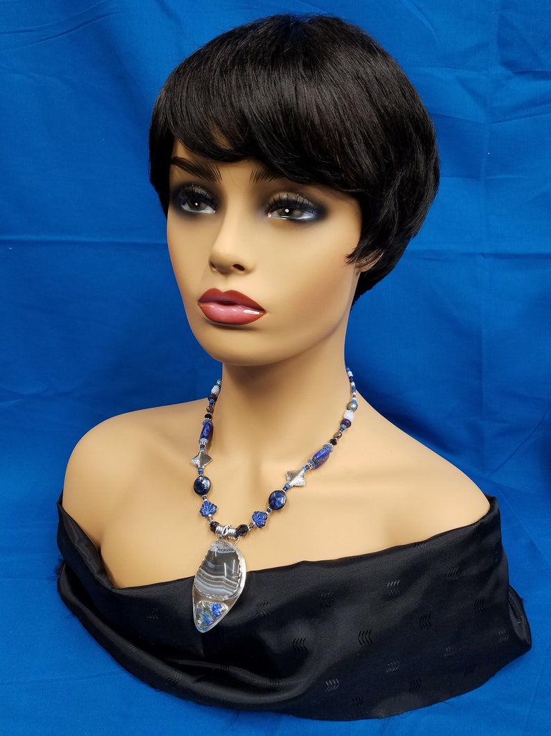 Banded and Blue Lapis beaded necklace 314 image 0