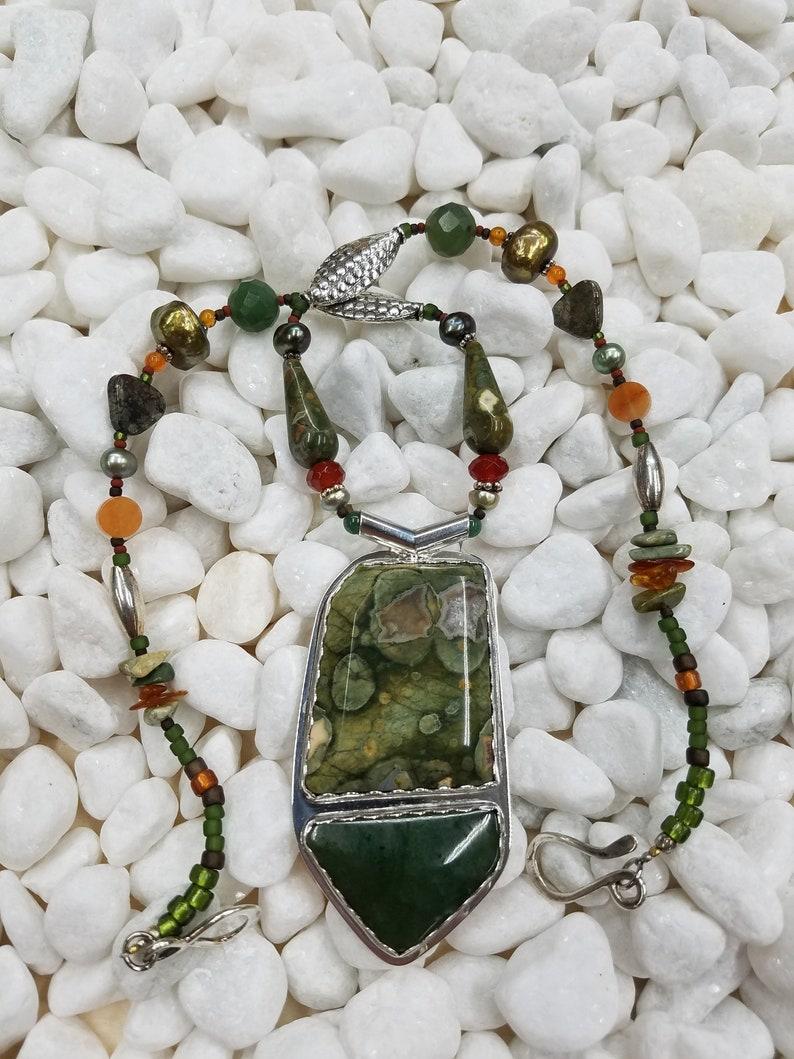 Rainforest Jasper and Jade Sterling beaded necklace 184 image 0