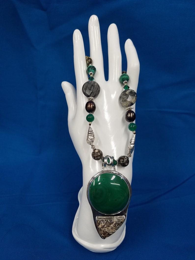 Malachite and Turritella stone sterling silver bead necklace image 0