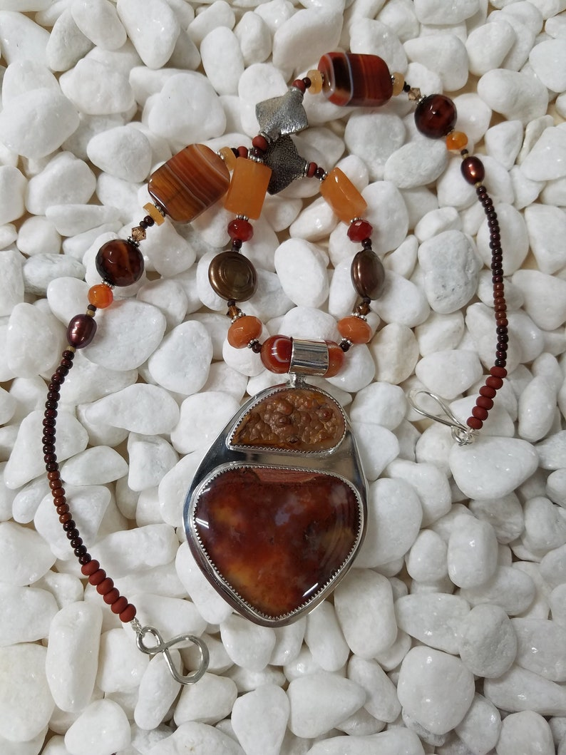 Red Plume Carnelian beaded Silver necklace 344 image 0