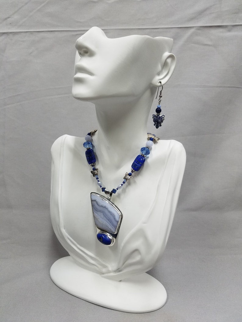 Lapis Lazuli and Blue Lace agate sterling beaded necklace 318 image 0
