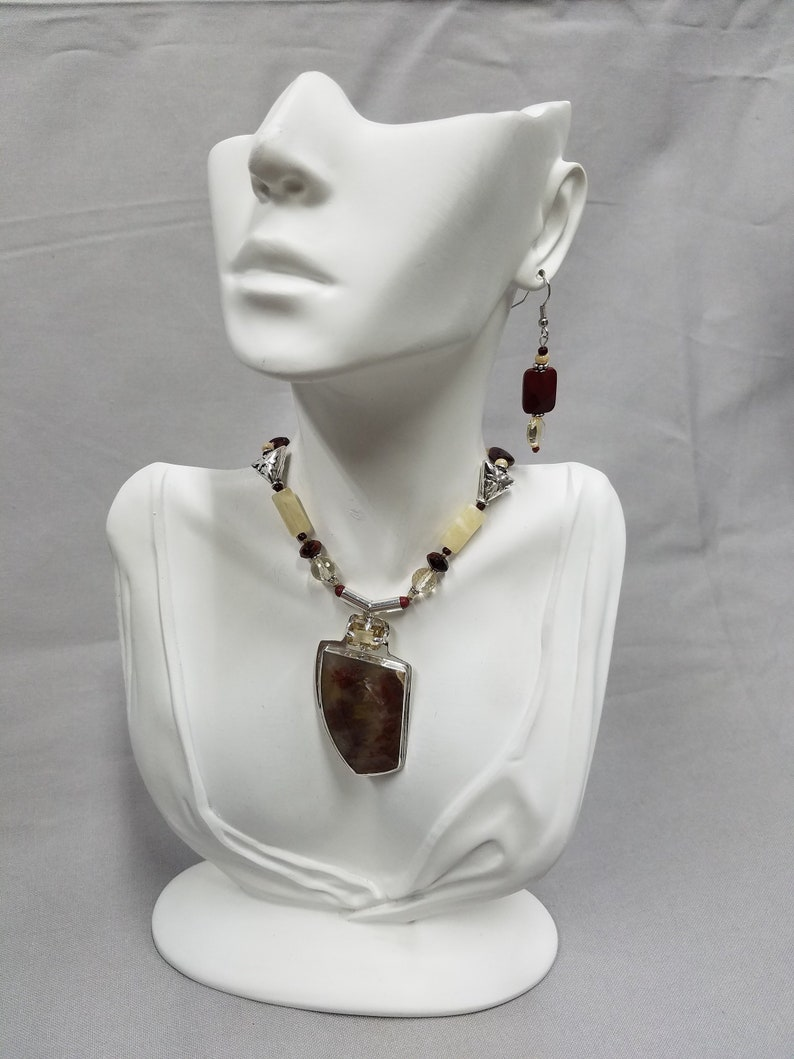 Plume Agate and Citrine Steling beaded necklace 404 image 0