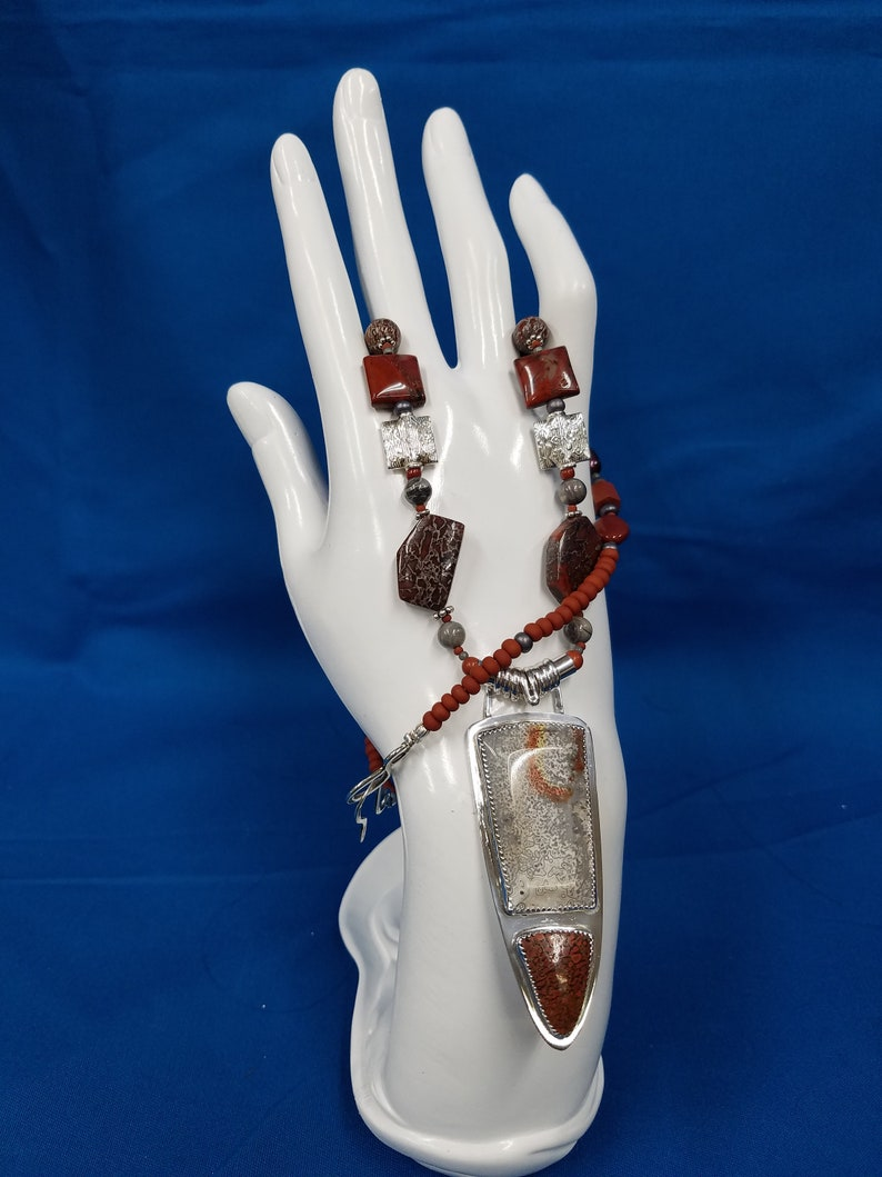 Dinosaur bone and Mexican lace sterling bead necklace 273 image 0