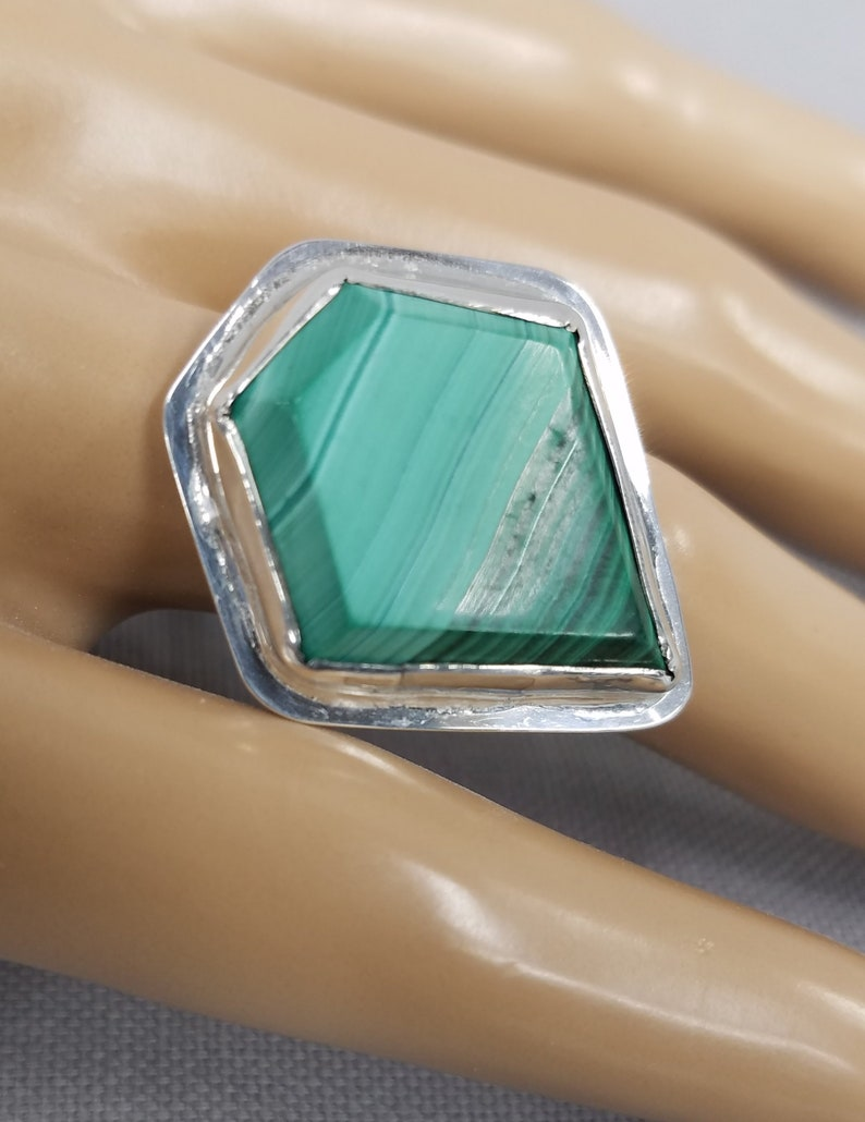 Malachite sterling silver ring 64 image 0