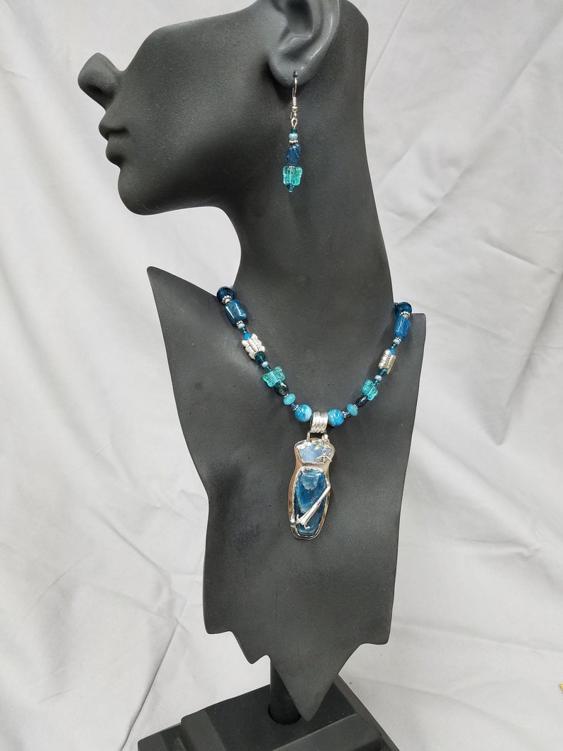 Apatite and Blue Opal Sterling beaded necklace 449 image 0