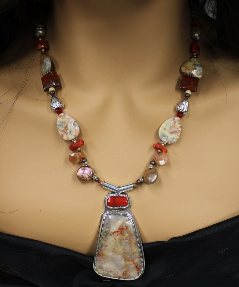 Red Coral and Agate sterling necklace 363 image 0