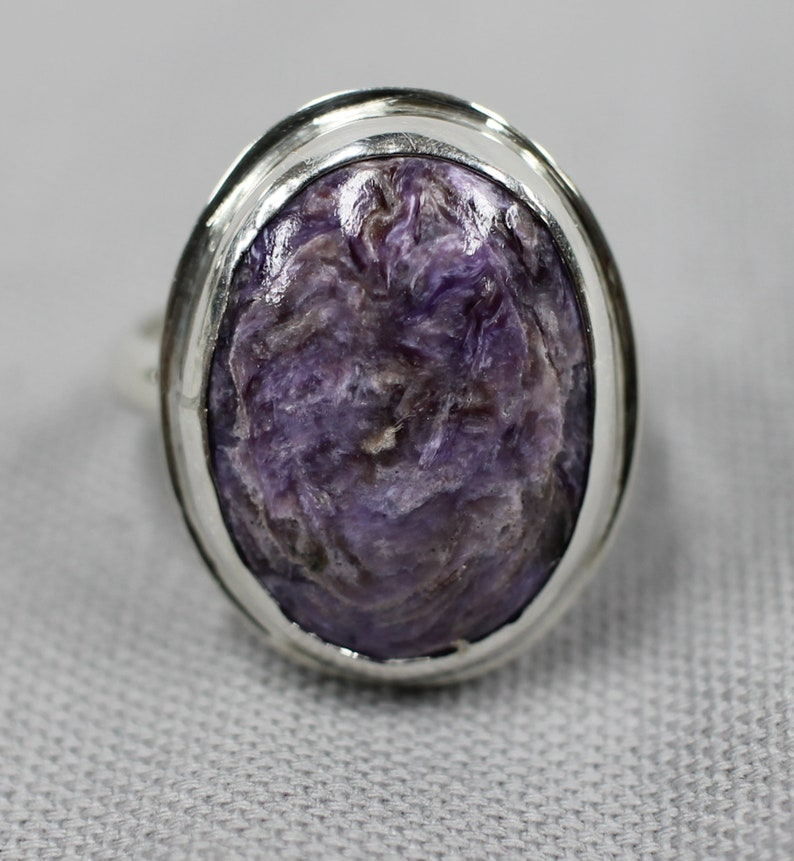 Charoite sterling silver ring 39 image 0