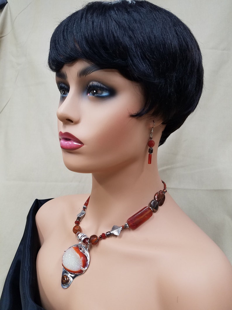 Carnelian Drusy and Fire Agate Sterling beaded necklace 451 image 0