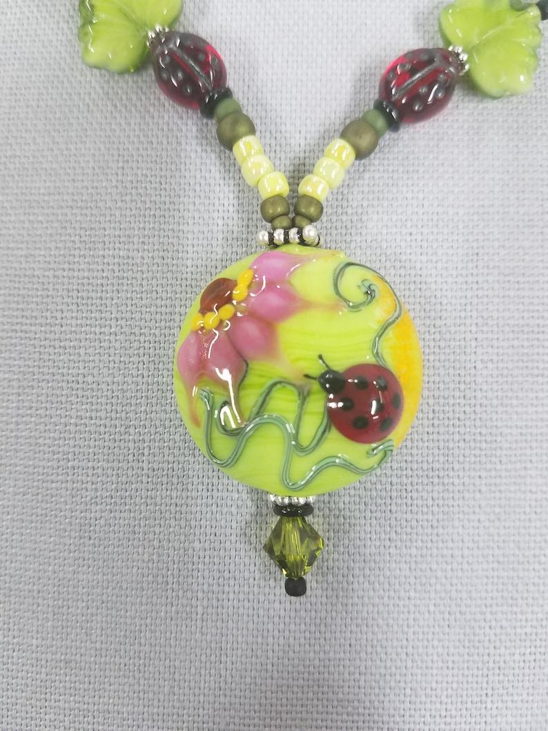 Japanese Lampwork Ladybugs beaded necklace 464 image 0