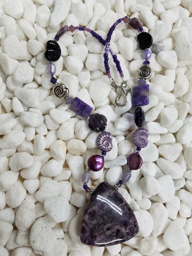 Amethyst bead necklace 430 image 0