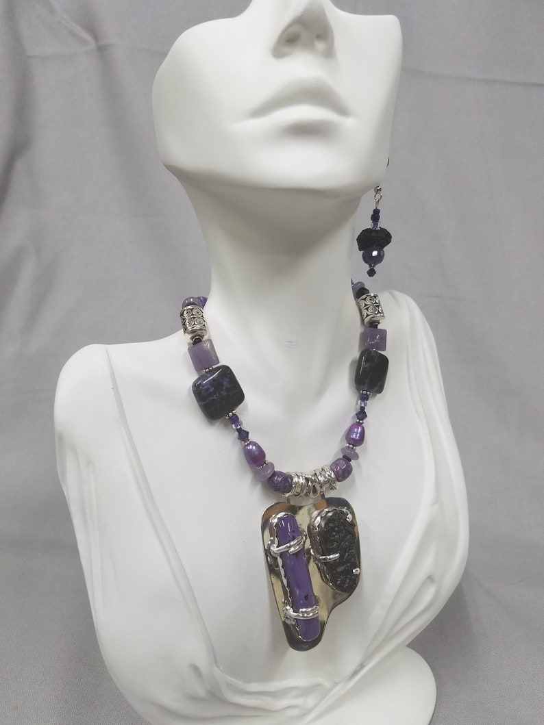 Charoite and Tektite sterling silver beaded necklace 481 image 0