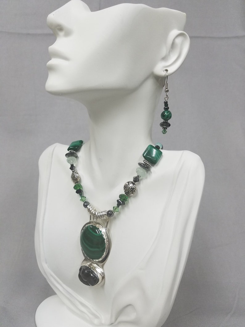 Malachite and botryoidal Hematite sterling silver beaded image 0