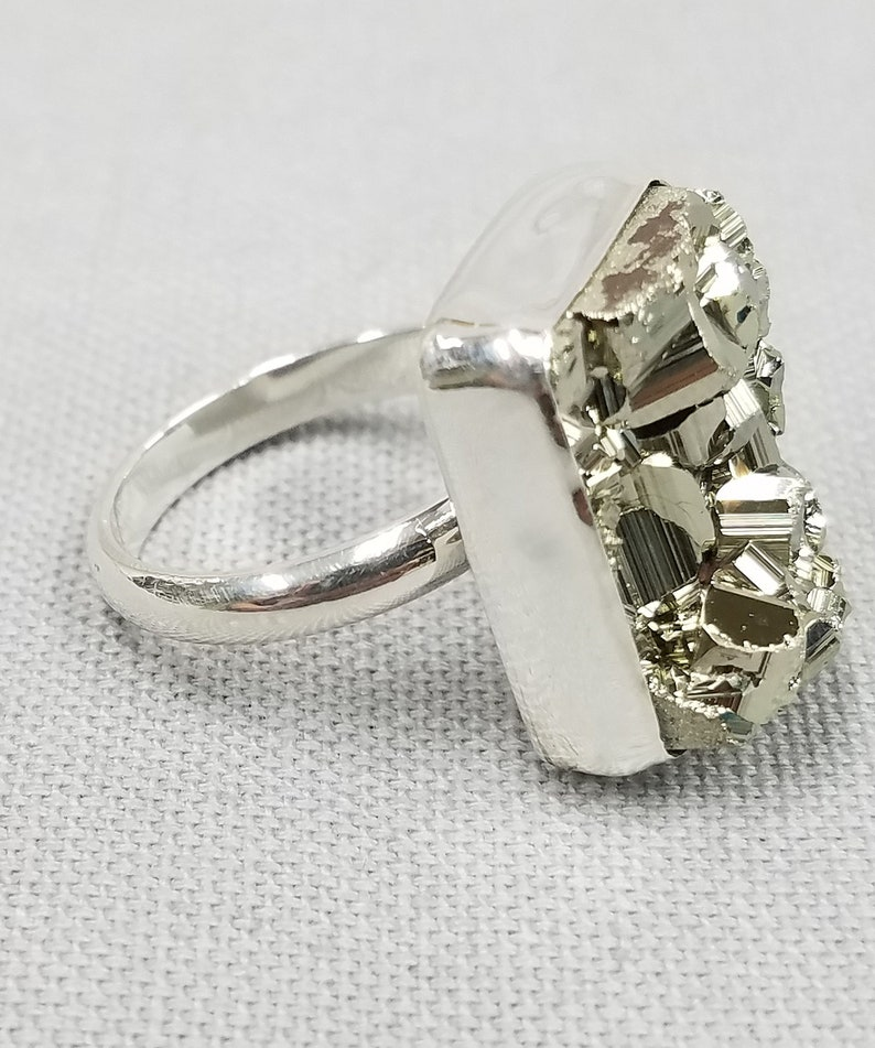 Mexican Pyrite Druzy silver ring 110 image 0