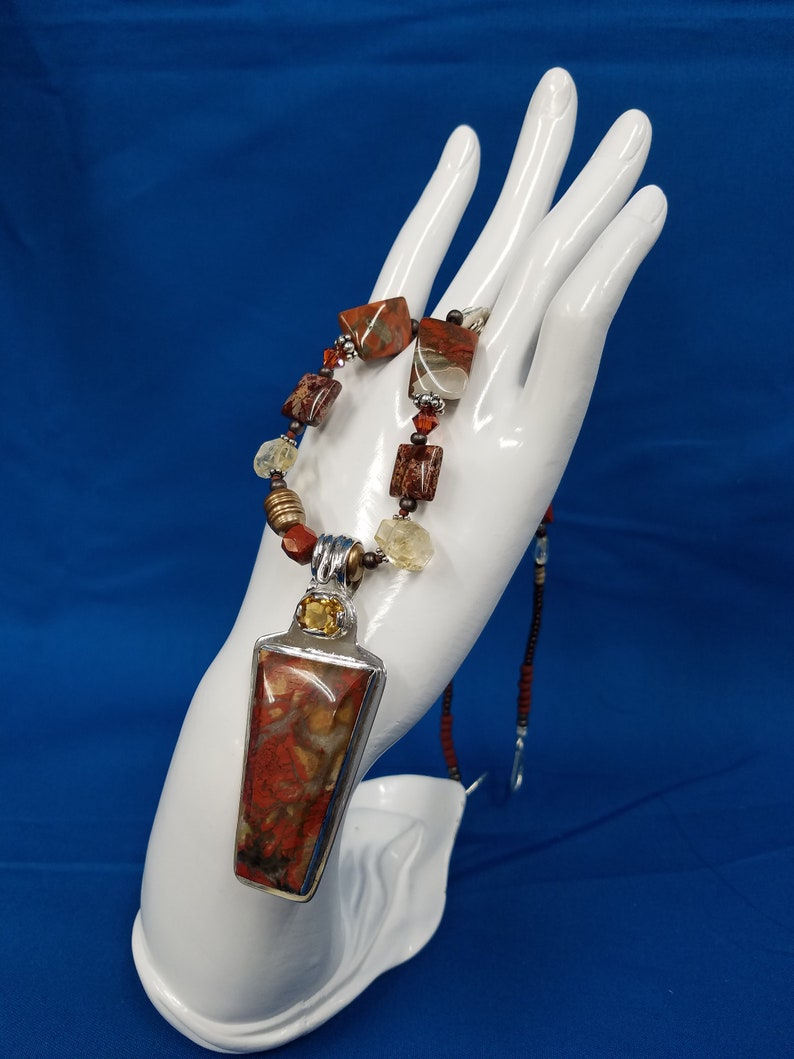 Red Plume agate Citrine bead sterling bead necklace 349 image 0