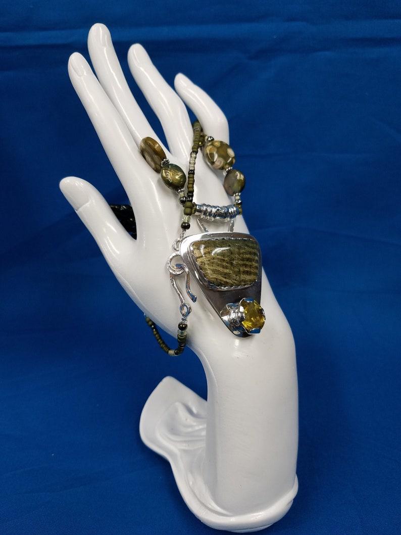 Australian green opal and lemon Quartz sterling bead necklace image 0