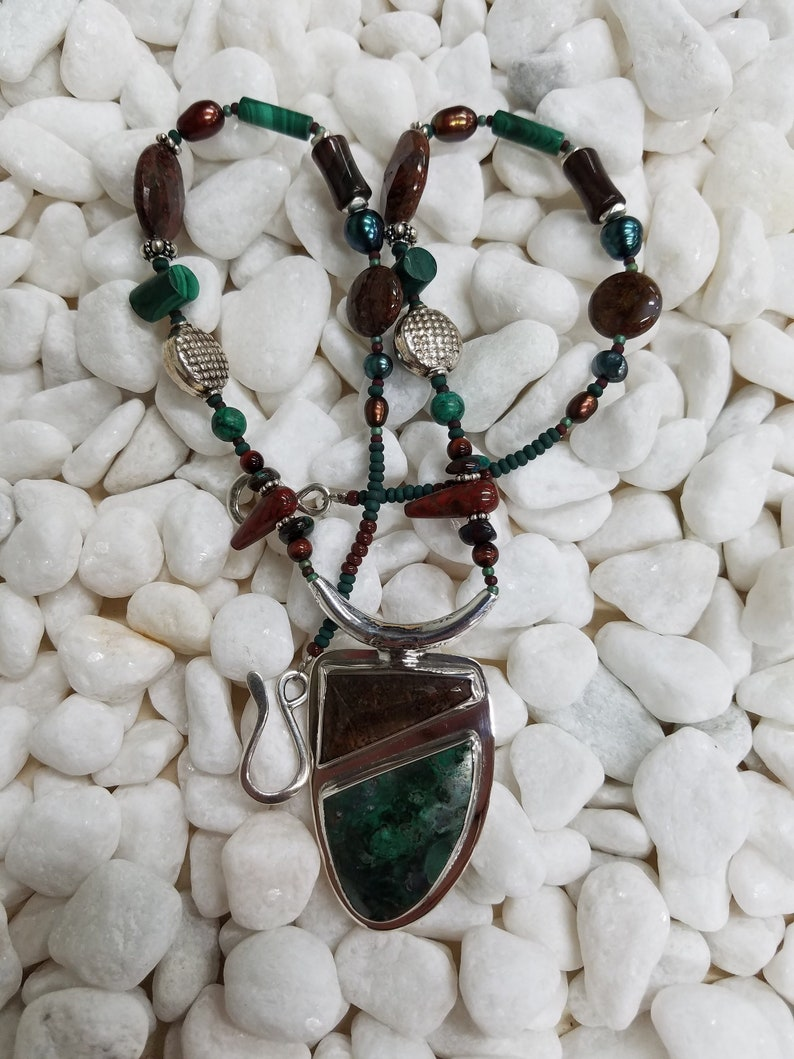 Chrysocolla  Malachite dinosaur bone bead sterling necklace image 0