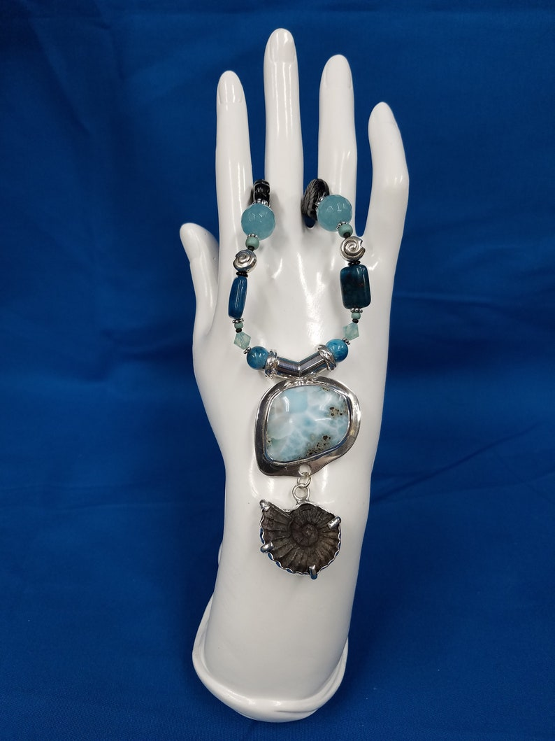 Larimar and Ammonite sterling bead necklace 480 image 0