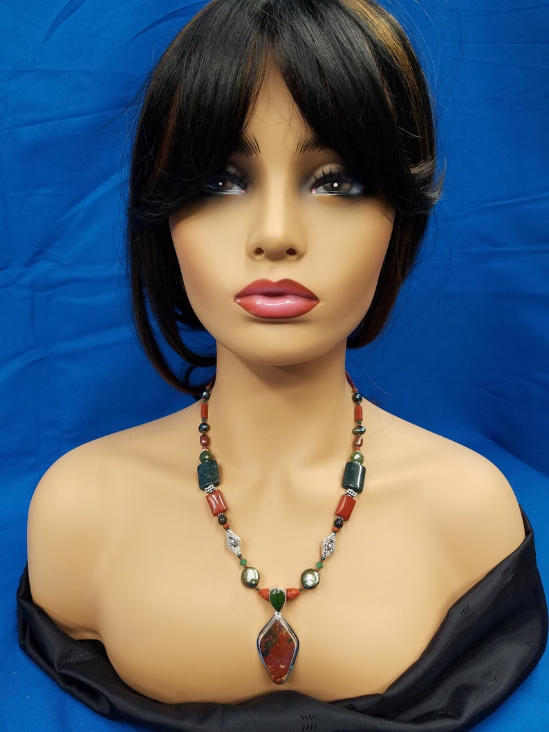 Wyoming Jade and Bloodstone bead sterling necklace 279 image 0