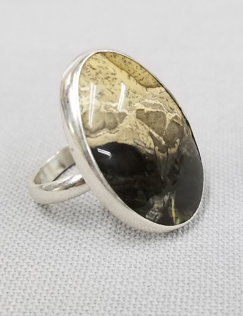 Dendritic Agate sterling silver ring 95 image 0