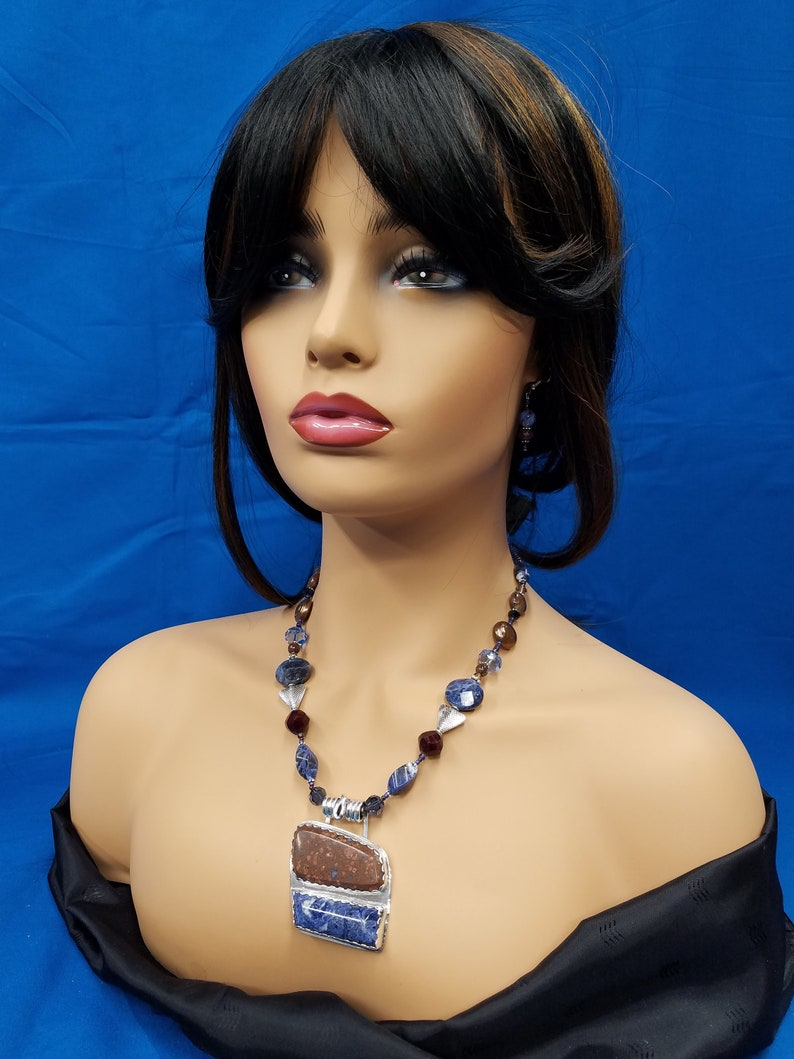 Llanite and Sodalite sterling bead necklace 315 image 0