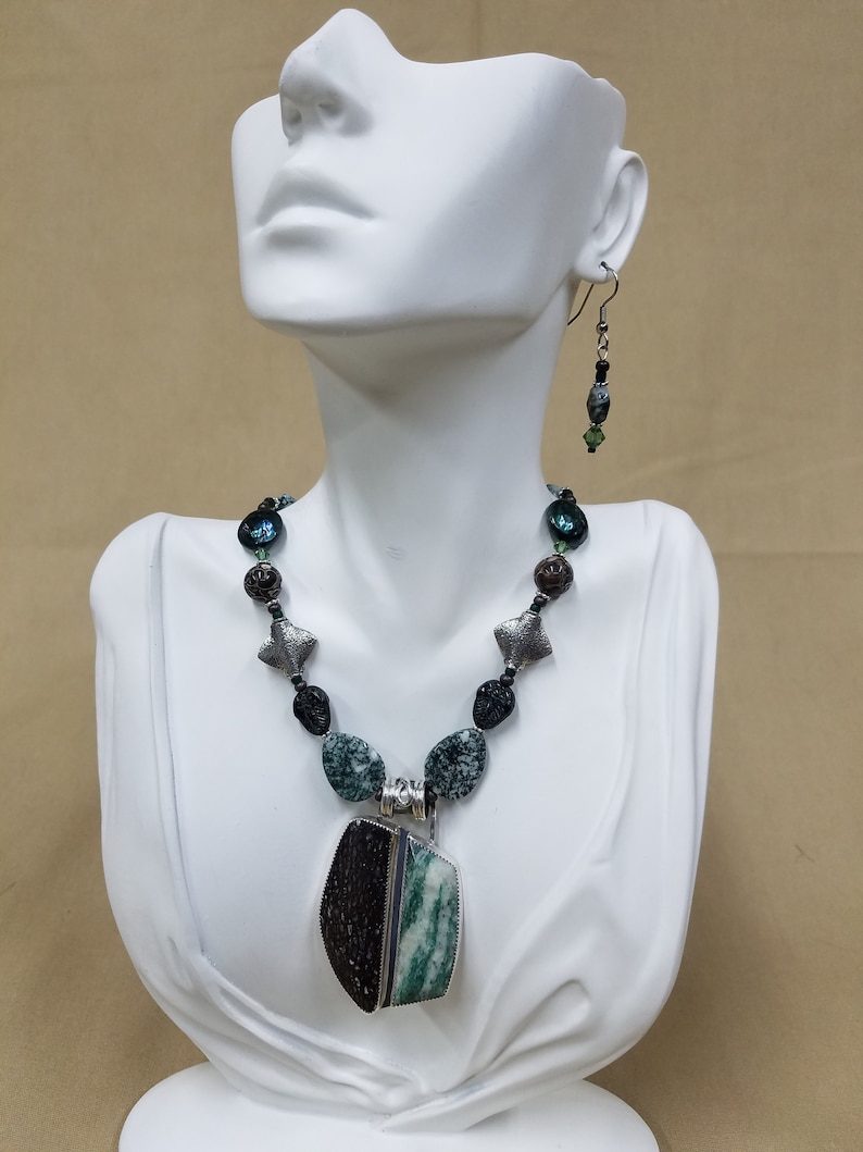 Mariposite and Dino Bone Silver beaded necklace 328 image 0