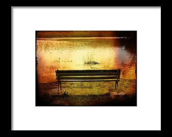 Bench On Lake...Signed & Matted Color Fine Art Photograph