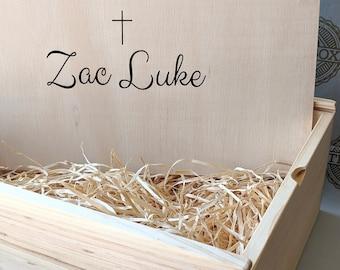 Christening Keepsake Box - Personalised Gift Box - Wooden Hamper