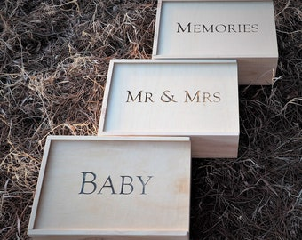 Wedding Keepsake Box - Gift Box - Wooden Hamper - Baby Box - Memory Box
