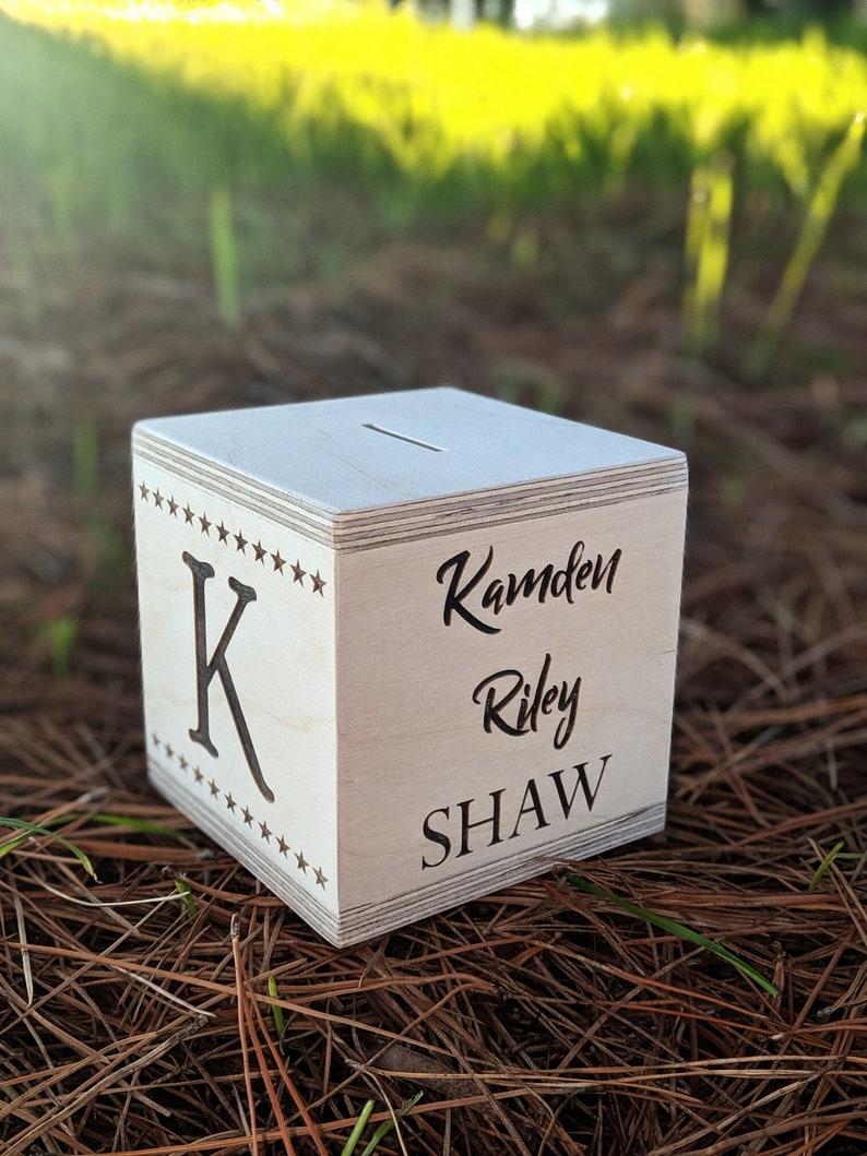 Money Box / Personalised Gift / Wood Box / Baby Money Box / image 0