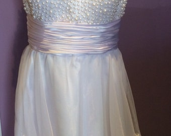 Handmade Sheer White Lace Pearl Embellished Dress Size Small  Perfect for a summer wedding or event