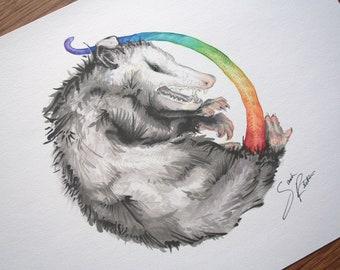 Rainbow Opossum Print