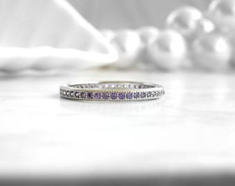 Amethyst ring Full eternity band ,925 sterling silver - wedding band - white gold plated - anniversary ring.
