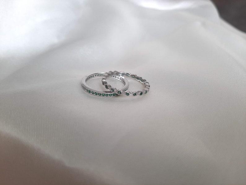 May Birthstone Green Emerald Milgrain and Eyes Full Eternity 2 Bands Set 925 Sterling Silver Wedding Birthstone Anniversary Two Rings Set