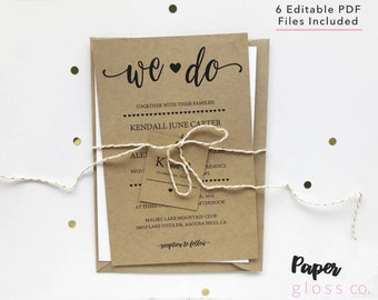 Rustic wedding invitation template | Etsy