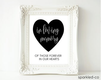 In Loving Memory Downloadable Sign,  Wedding Reception Sign, Calligraphy, Heart