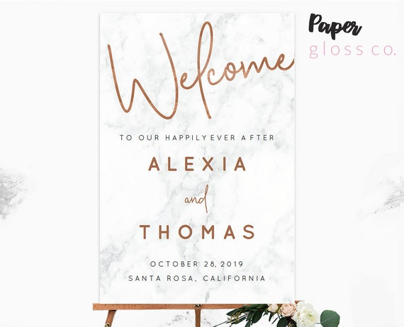 Copper and Marble Wedding Welcome Sign Printable Wedding  dd0cdc4bfe2